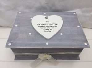 Shabby RUSTIC Chic Distressed LARGE Box Sister On Wedding Day personalised Gift